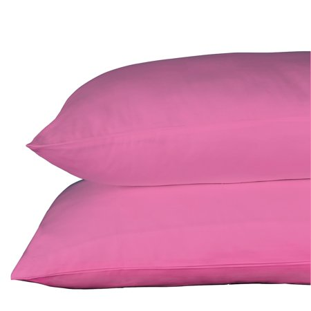Just Linen  300 Thread Count 100% Cotton Sateen, Solid Hot Pink, Pack of 2 Queen Pillowcases