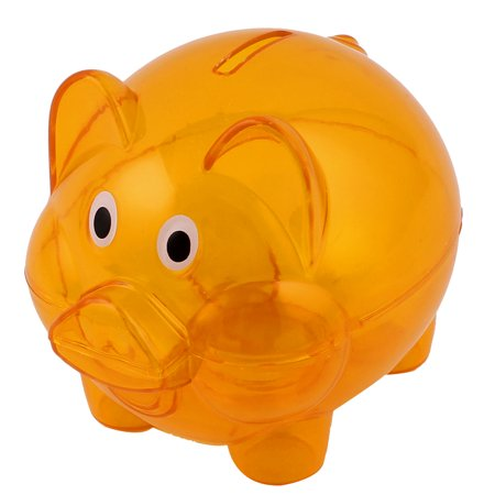 Unique Bargains Clear Orange Plastic Piggy Bank Coin Money Cash Saver Savings Pig Toy Safe Box (Plastic Piggy Bank)