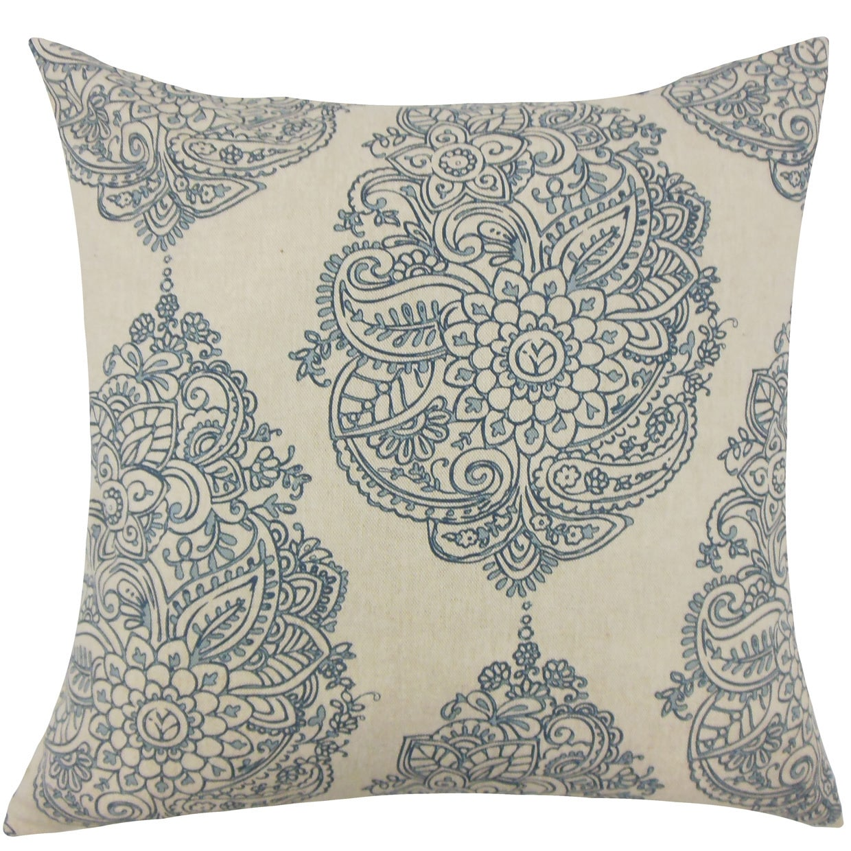 The Pillow Collection Lanza Damask 24-inch Down Feather Throw Pillow - Blue
