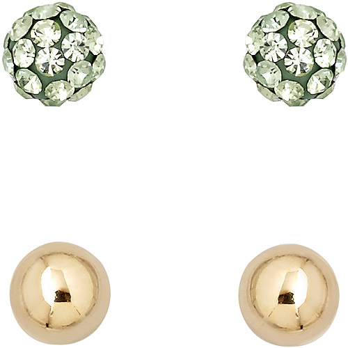 Luminesse 18kt Gold over Sterling Silver Plain and Green Earrings Set made with Swarovski Elements