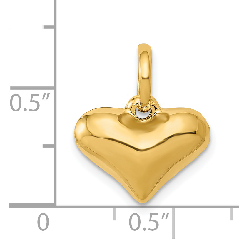 14K Yellow Gold Puffed Heart Pendant - image 1 de 2
