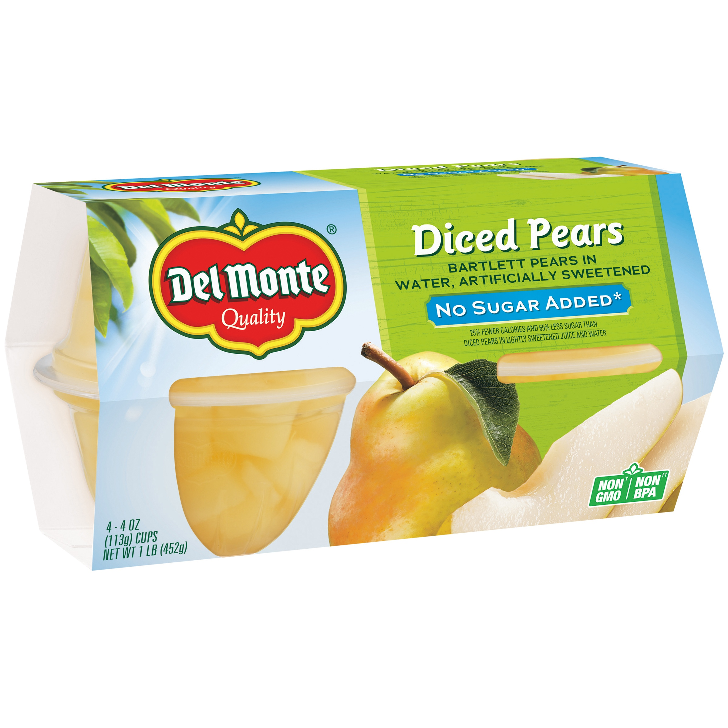 Del Monte No Sugar Added Diced Pears in Water, 4 oz Cup, 4 Count Box