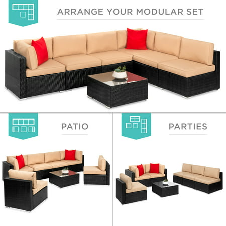 Best Choice Products 7-Piece Modular Outdoor Patio Furniture Set, Wicker Sectional Sofas w/ Cover, Seat Clips â Black