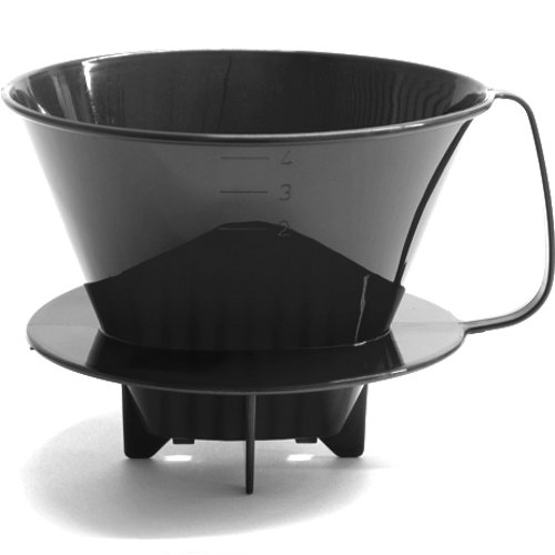 HIC Coffee Filter Cone, Black, Number 4-Size Filter, Brews 8 to 12-Cups