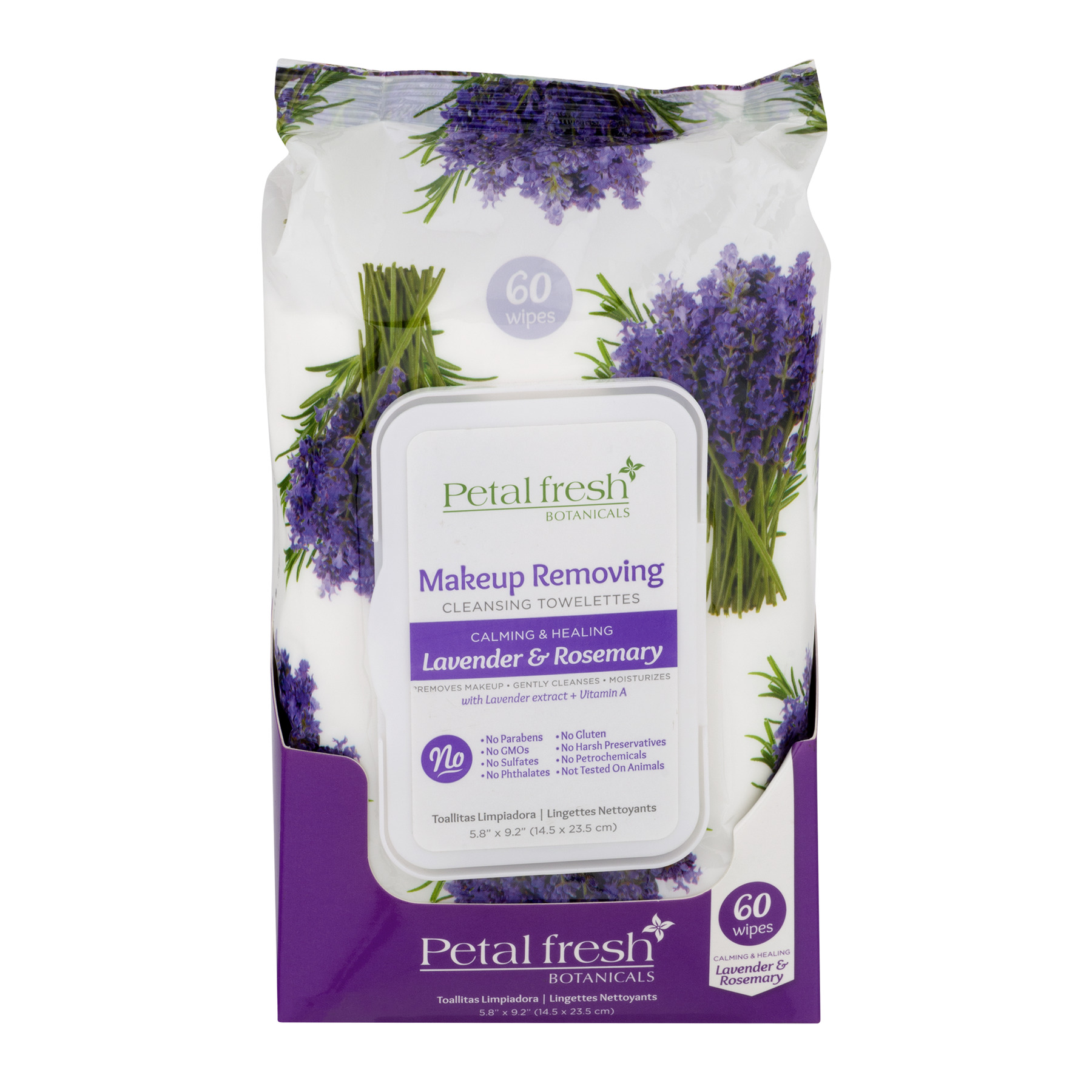 Petal Fresh Makeup Removing Cleansing Towelettes Lavender & Rosemary, 60.0 CT