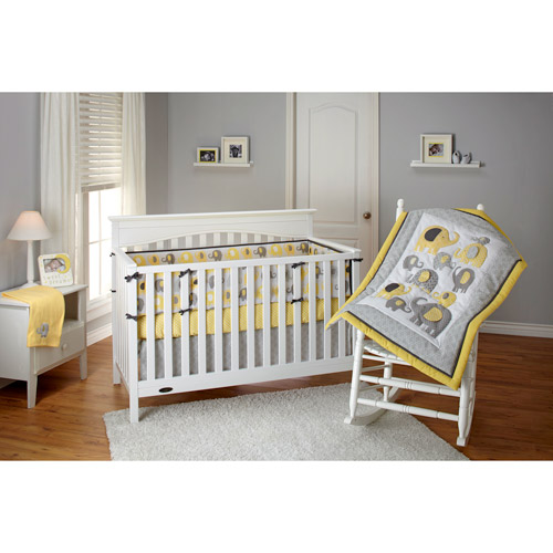 ***DISCONTINUED*** Little Bedding by NoJo Elephant Time 3-Piece Crib Bedding Set, Yellow with BONUS Bumper Pad