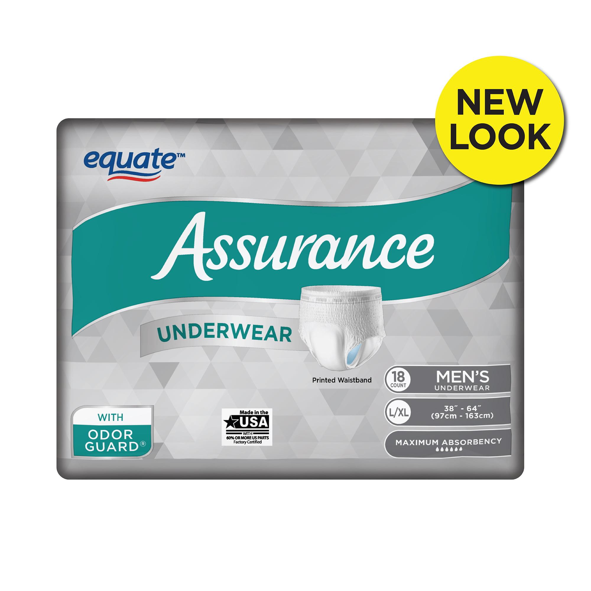 Assurance Underwear, Men's, L/XL, 18 Count