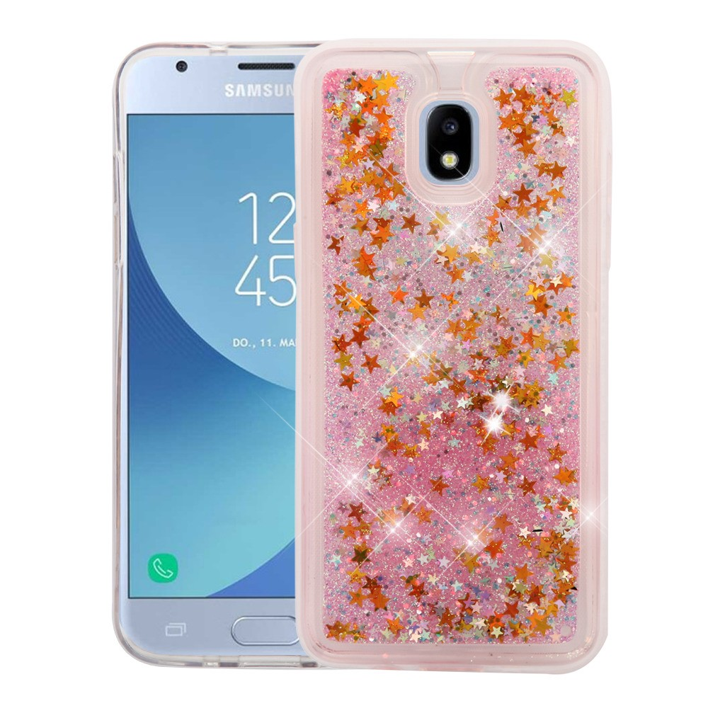 Bemz Liquid Glitter Quicksand Protective Cover Case with Atom Cloth for Samsung Galaxy Express Prime 3 (J337A) AT&T - Gold Stars/Pink