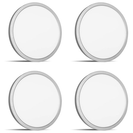 4-Pack 9 Inch LED Flush Mount Ceiling Light, Luxrite, 3000K Soft White,  1200LM, 18W, Nickel Finish, Dimmable, Surface Mount LED Ceiling Light, Wet