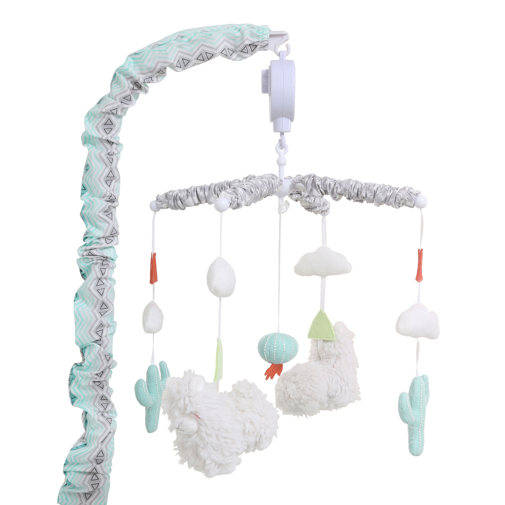 Click here to buy Little Llama Mint Green and Grey Digital Musical Crib Mobile by The Peanut Shell.