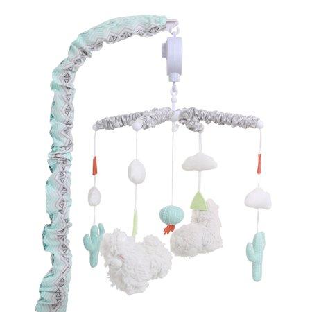 Little Llama Mint Green And Grey Digital Musical Crib Mobile