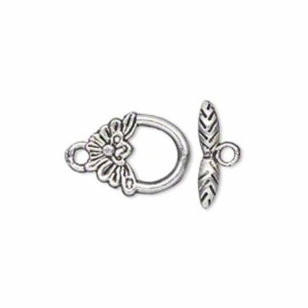 19 Antiqued Silver Pewter Flower Toggle Clasps 15x12mm Loop 15mm - Pewter Toggle Clasp