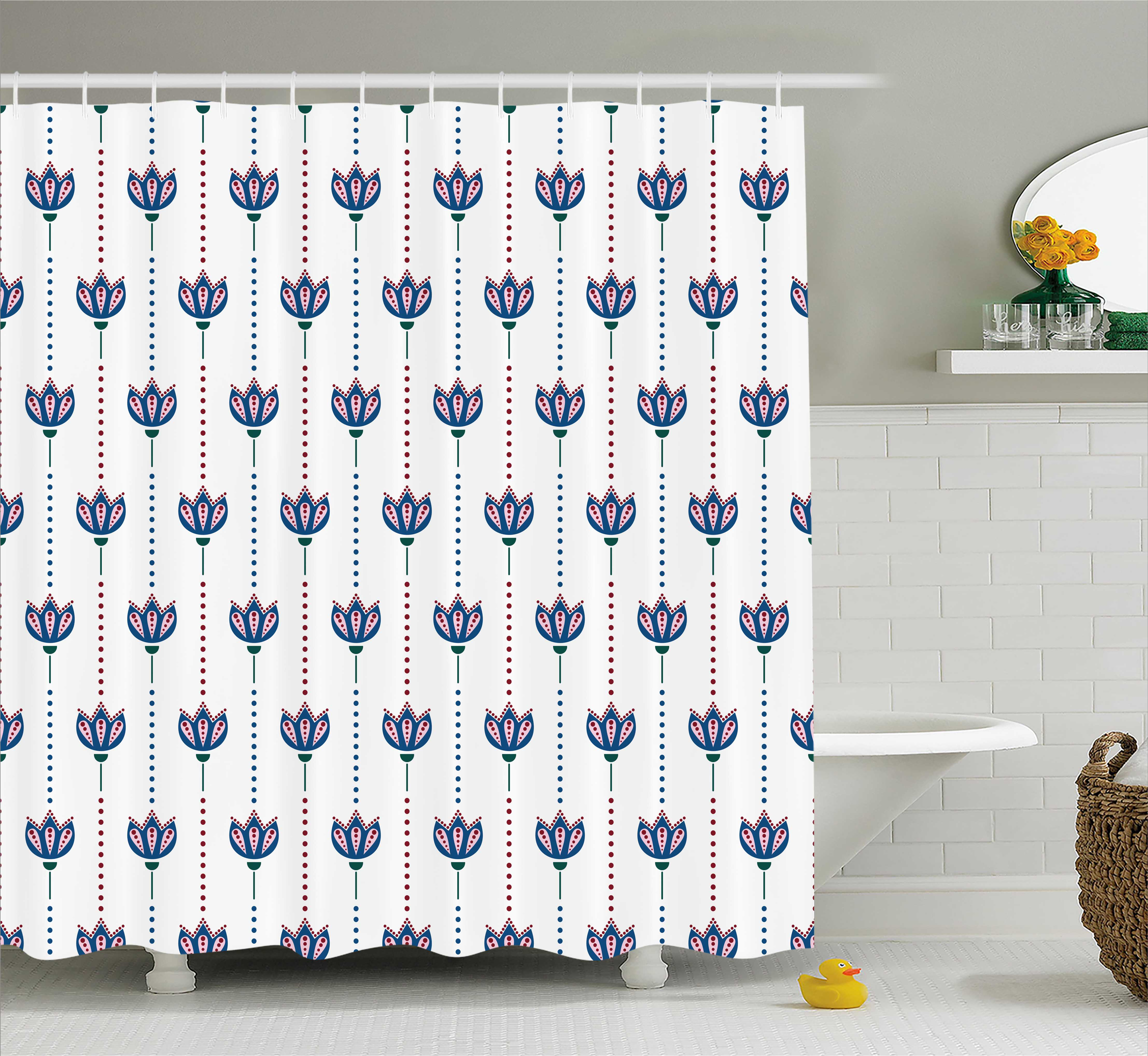 Indian Shower Curtain, Ottoman Tiles Inspired Bohem Ethnic Tulip Flowers and Polka Dots Image, Fabric Bathroom Set with Hooks, 69W X 84L Inches Extra Long, Red Navy Blue and White, by Ambesonne