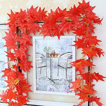2.4m WEDDING GARDEN DECOR Autumn Leaves Garland Maple Leaf Vine Fake Foliage