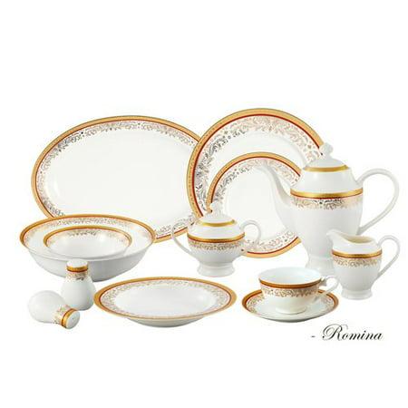 Lorren Home Trends Bone China 57 Piece Dinnerware Set, Service for (Bone China Breakfast Set)