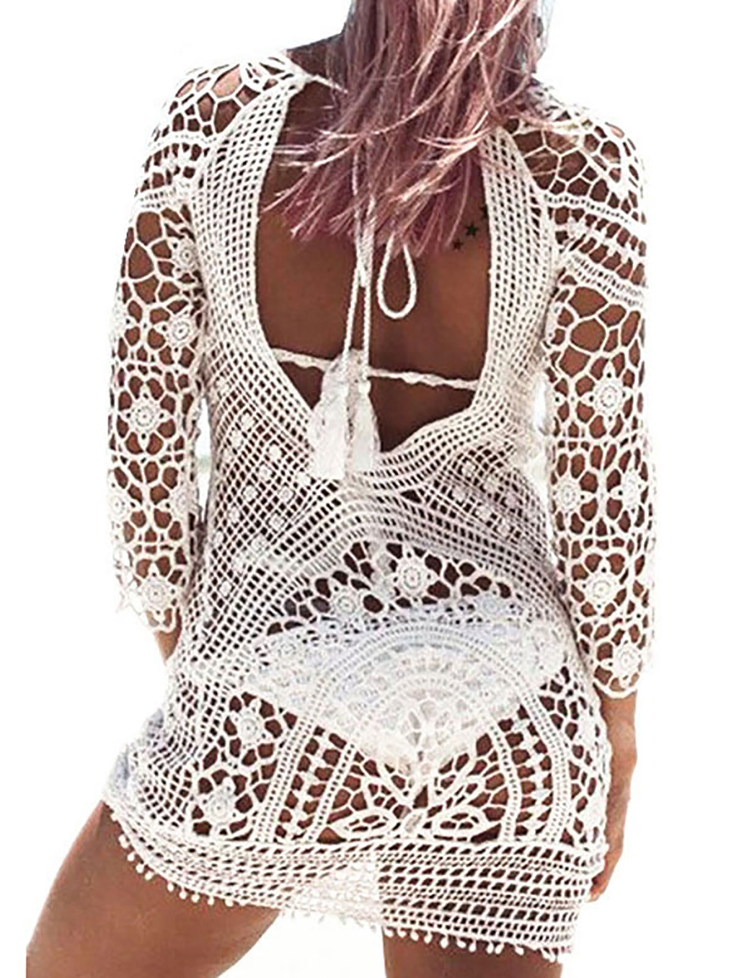 Sexy Swim Cover Ups for Women Beach Bikini Swimwear Floral Lace Crochet Dress Beachwear Backless Hollow Out Bathing Suit