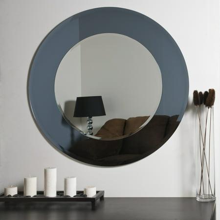 Large 35 Dia Round Gray Camilla Modern Decorative Mirror By