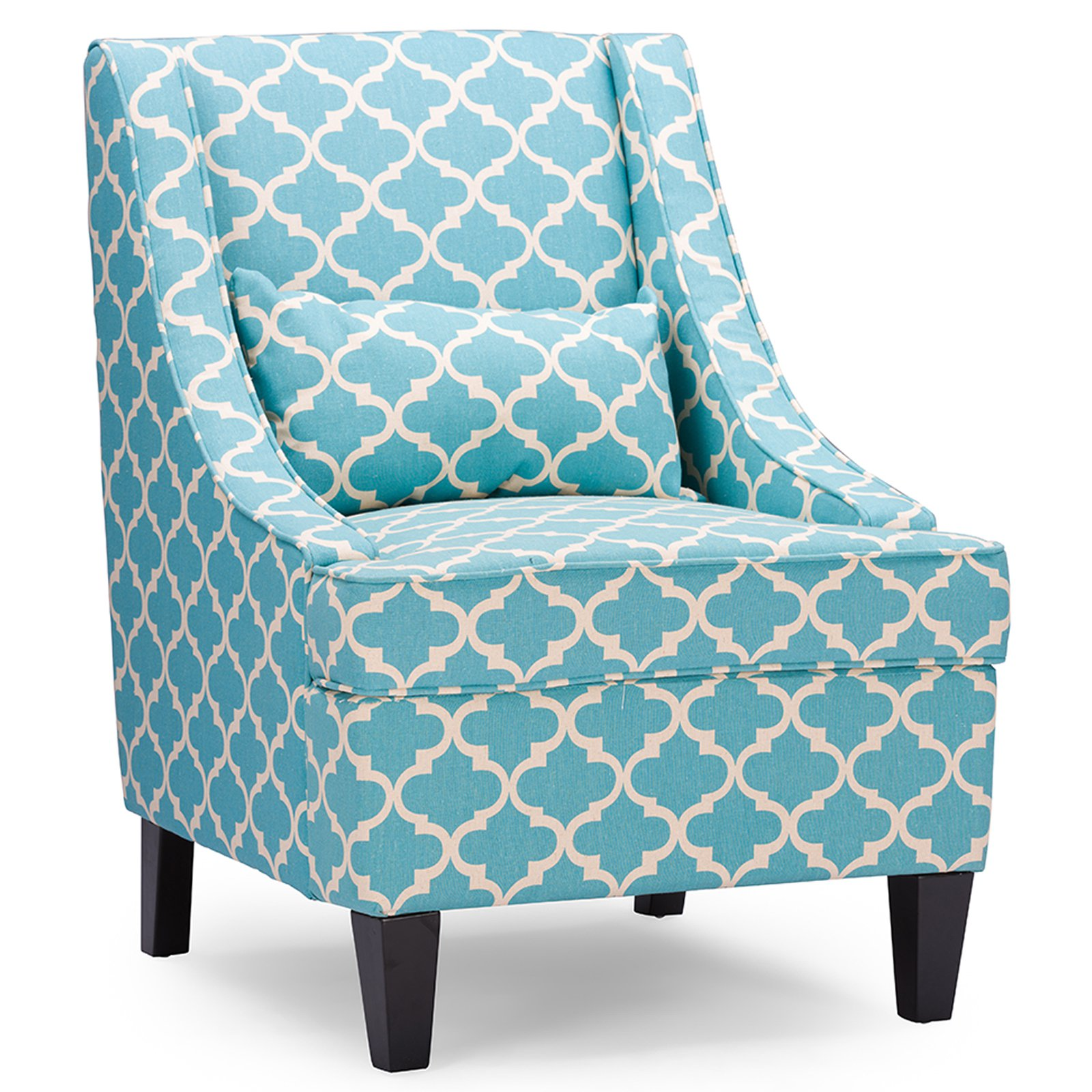 Baxton Studio Lotus Contemporary Fabric Armchair, Blue-Patterned Fabric