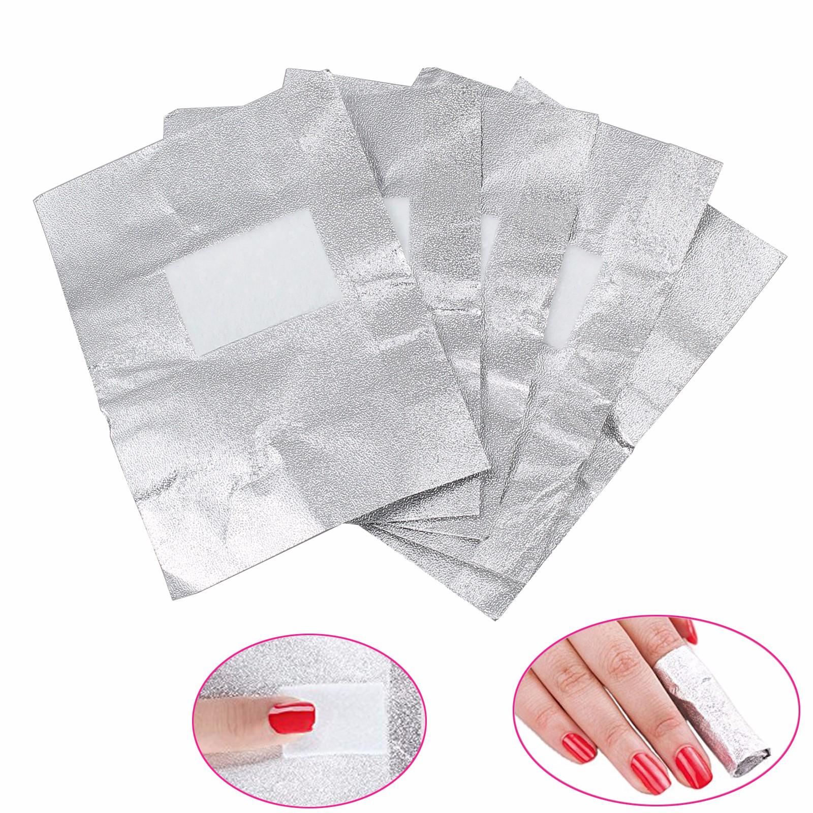 ESYNIC 200pcs Nail Art Foil Wraps Nail Acrylic Gel Polish Foil Wrap Remover Foil Nail Wraps Art Soak Off Gel Foil Cleaner with Cotton Pad Makeup Tool