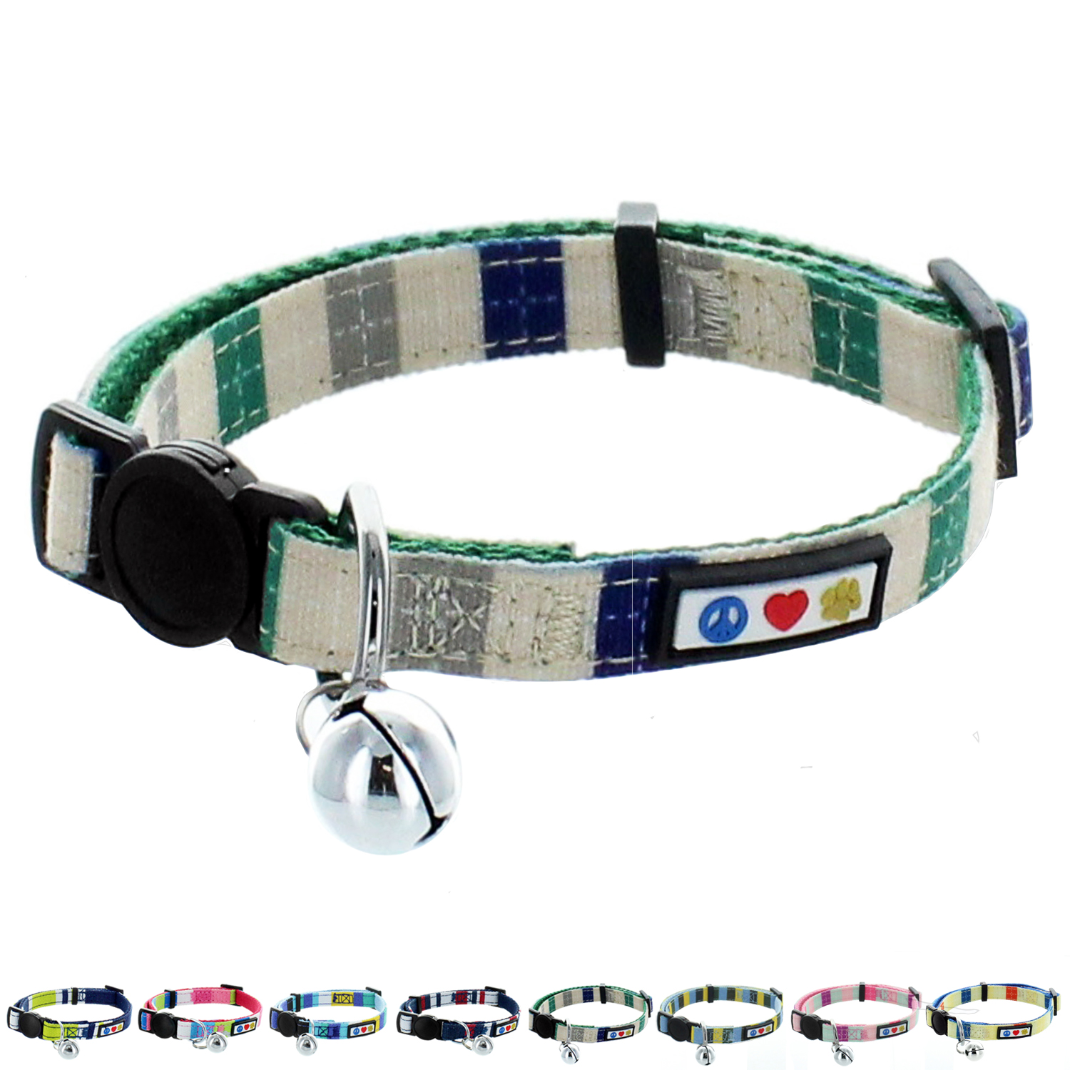 Pawtitas Multicolor Cat Collar with Safety Buckle and Bell