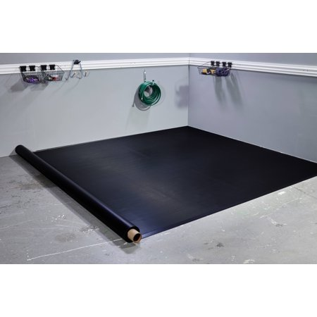 G-Floor 55 Mil Ribbed 8.5'x22' Midnight Black Parking Pad Garage Floor Cover/Protector