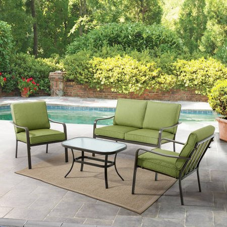 Mainstays Stanton Cushioned 4-Piece Patio Conversation Set, Green