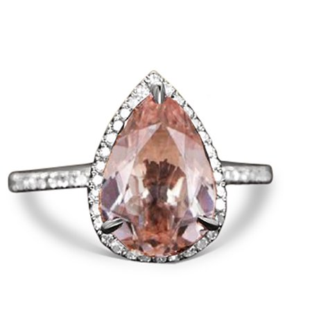 Peach Pink 1.5 Carat Pear cut Real Morganite and Diamond Engagement Ring in 18k Gold Over Sterling Silver ()