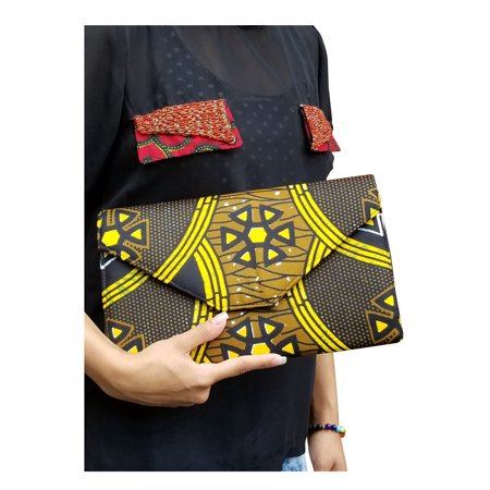 Black and Yellow African Print Clutch Purse ()