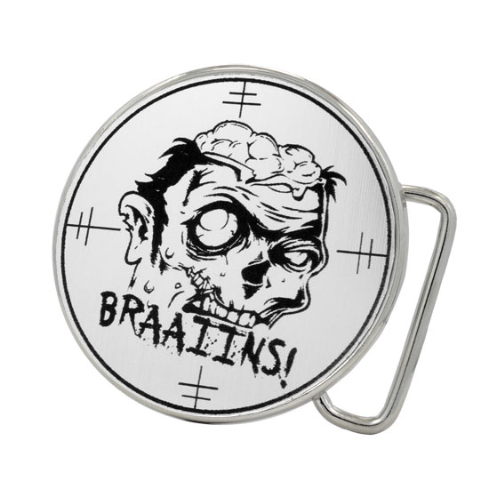 Buckle Rage Zombie Brains Target Round Belt Buckle, POLISHED SILVER, S1019-164-SIL