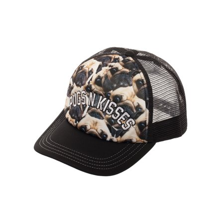 3837dcf8d99 No Boundaries - Women s Pugs N Kisses Snapback Hat with Print Foam Front  Panel and Mesh Crown - Walmart.com