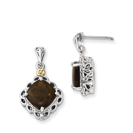 Mia Diamonds 925 Sterling Silver And 14k Yellow Gold Smoky Quartz Earrings