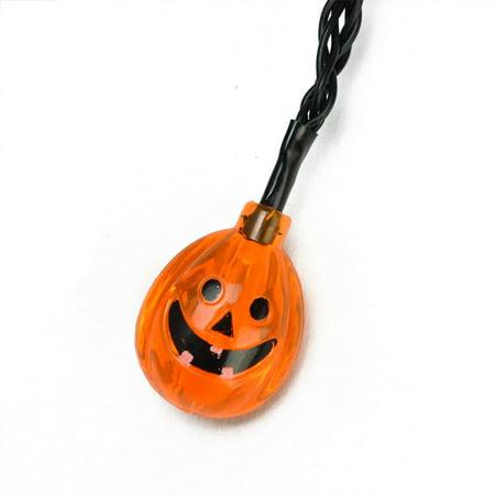 Set of 10 Orange Jack-O-Lantern Pumpkin LED Novelty Halloween Lights - Black Wire