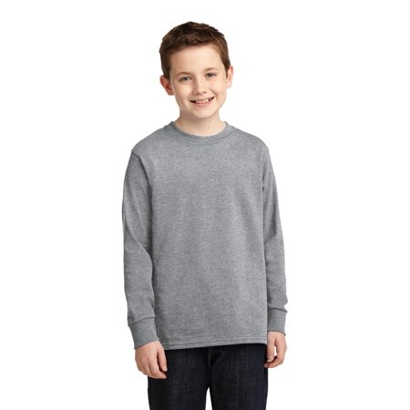 Port & Company® Youth Long Sleeve Core Cotton Tee. Pc54yls Athletic Heather Xl - image 1 of 1