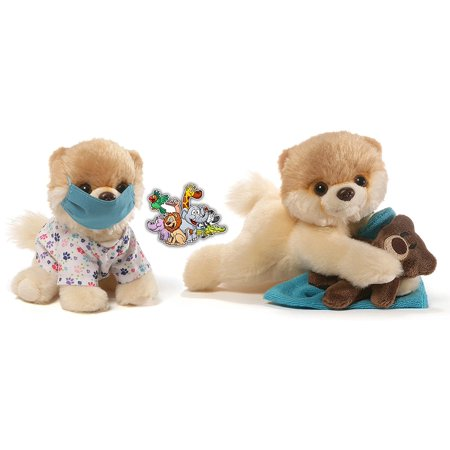 Gund Itty Bitty Boo Dogs Bedtime Teddy Bear and Scrubs Nurce Special Get Well Soon Set of 2 Plush 5