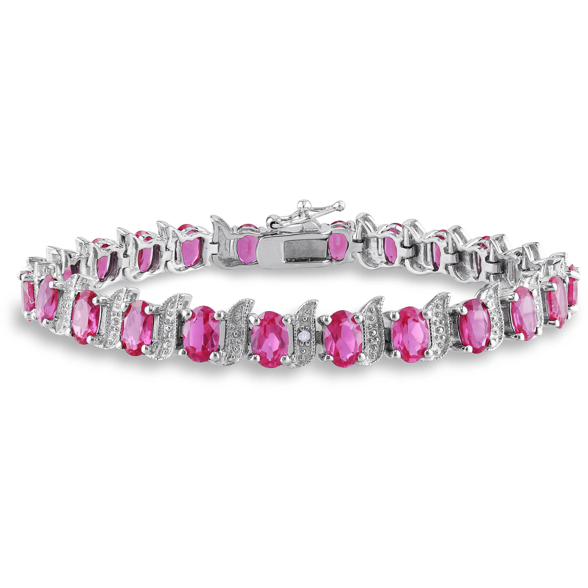 "Created Pink Sapphire Sterling Silver Bracelet with Diamond Accents, 7"" by"