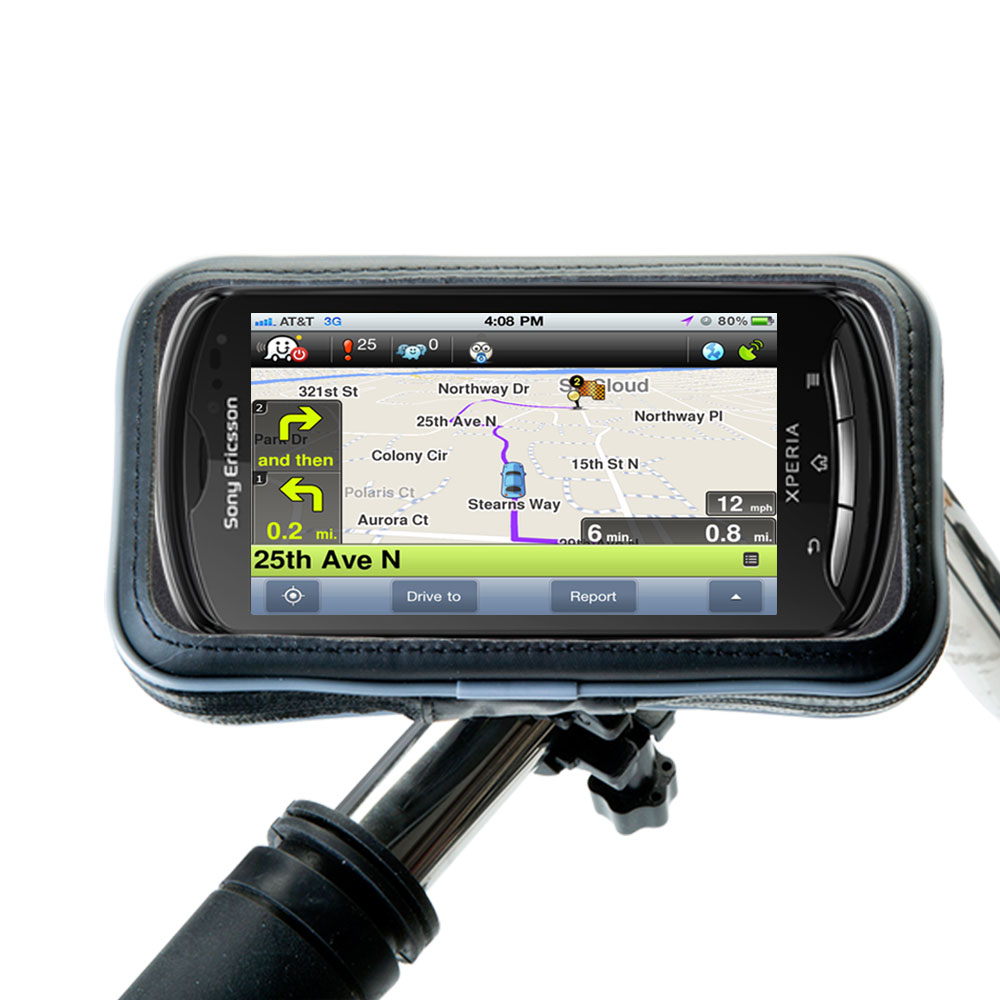 Heavy Duty Weather Resistant Bicycle / Motorcycle Handlebar Mount Holder Designed for the Sony Ericsson Xperia Pro