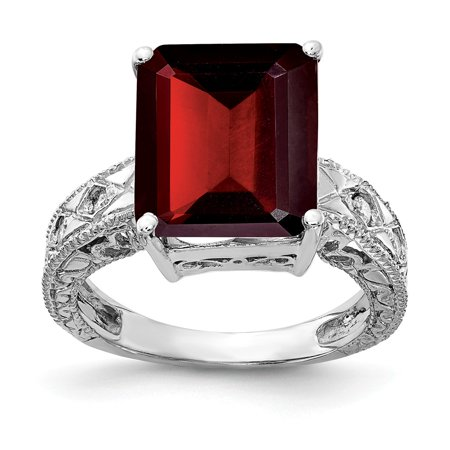Solid 14k White Gold 12x10mm Emerald Cut Garnet January Red Gemstone Diamond Engagement Ring Size 7 (.068 cttw.)