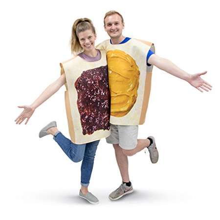 Boo! Inc. Peanut Butter & Jelly Adult Couple's Halloween Costume PBJ Party & Cosplay Suits - Halloween Party Themes Adults