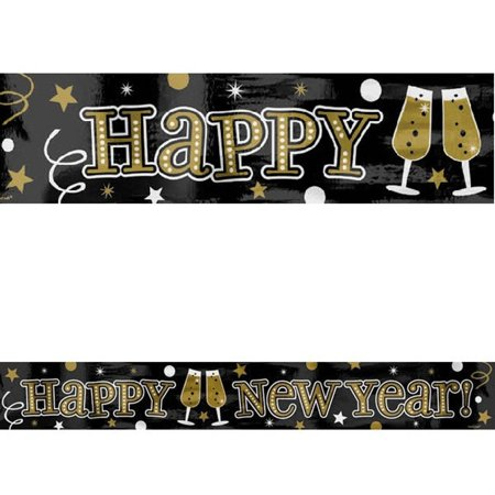 Black Silver Gold Happy New Year Foil Party Banner 9 ft Wall Decoration - Party City New Years Decorations