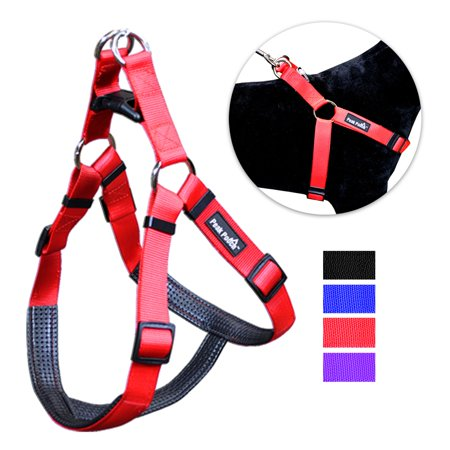 No Pull Padded Comfort Nylon Dog Walking Harness for Small, Medium, and Large (Harness Leather Side Pull)