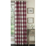 """Traditional Elegance Vintage Check Grommeted Window Curtain Panel in Red (53""""W x 84""""L)"""