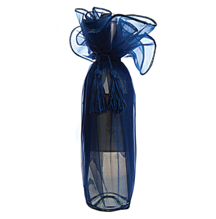 """(6-pcs) 27"""" Organza Wine Bottle Gift Wrapping Favor Party Bag W/ Cord Tie (Rosy Mauve)"""