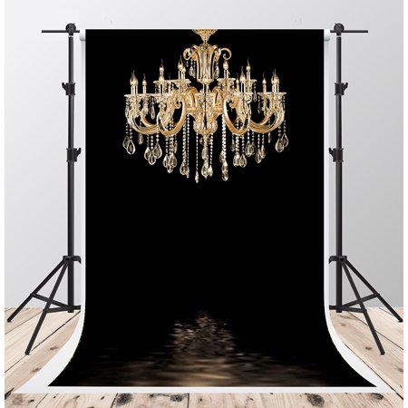 HelloDecor Polyster 5x7ft Black Bedroom Backdrops for Photography Gold Chandelier Photo Background for Wedding Backdrop Booth