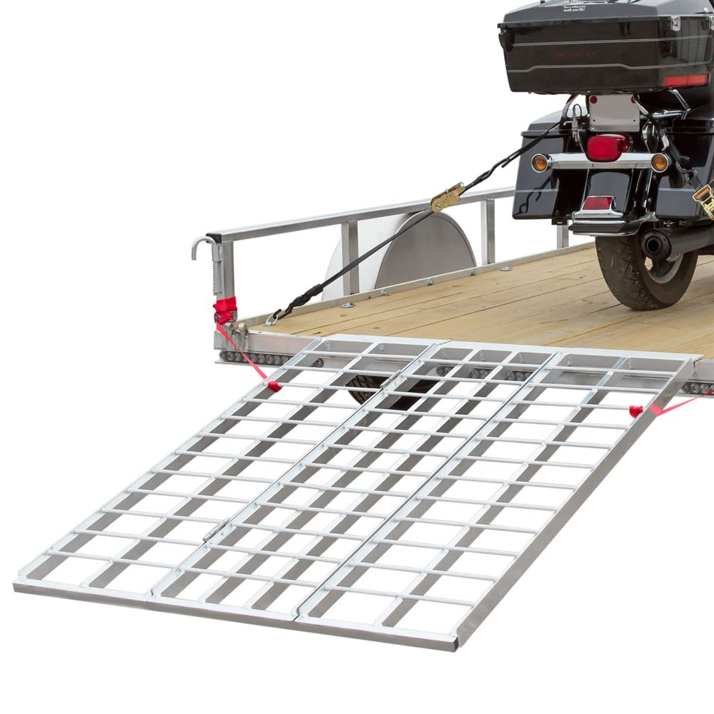 "60"" Triple Folding ATV, Motorcycle, Lawn Tractor Loading Ramps for Utility Trailers"