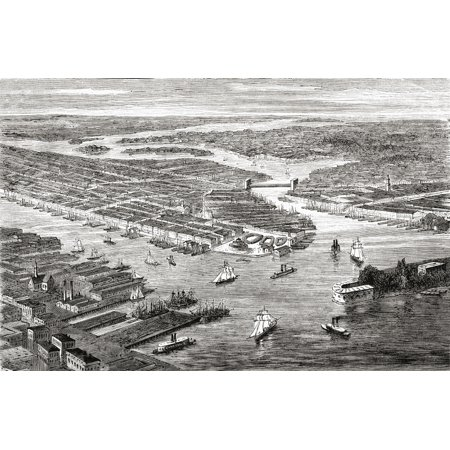 New York City United States Of America In The Late 19Th Century From North America Published 1883 Stretched Canvas - Ken Welsh  Design Pics (36 x - Halloween In 19th Century America
