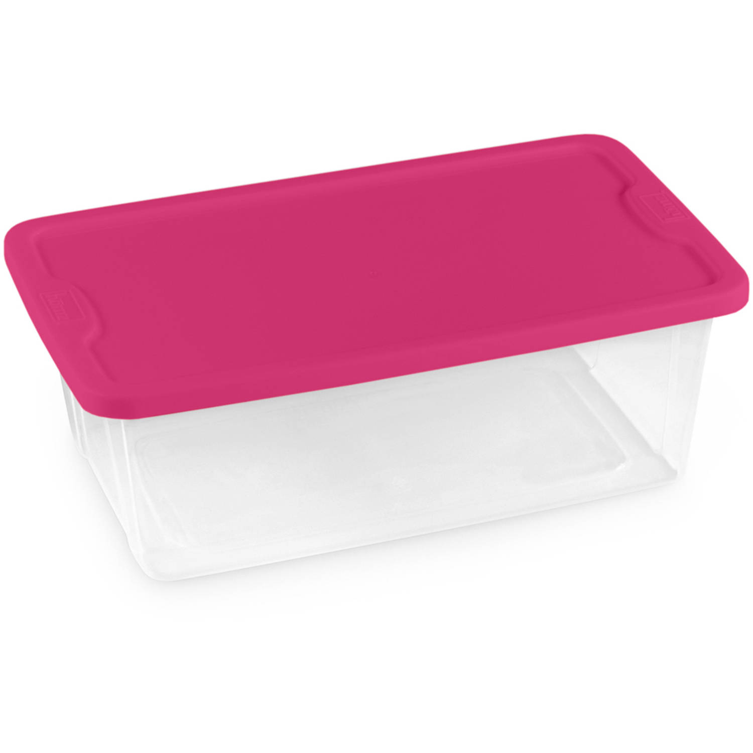 Homz 6 Quart Plastic Storage Container, Clear and Fuchsia Pink