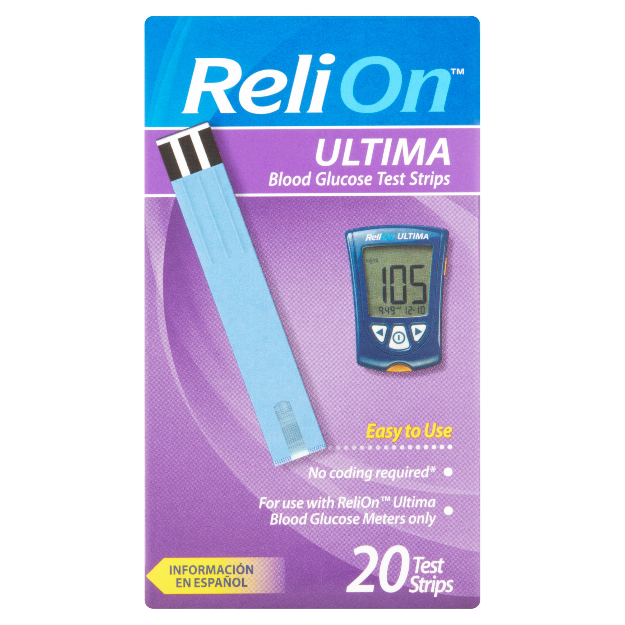ReliOn Ultima Blood Glucose Test Strips, 20 Ct