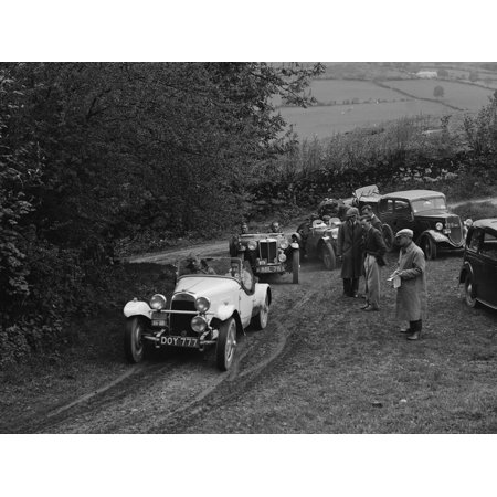 HRG of MH Lawson amd MG TA of Maurice Toulmin at the MG Car Club Abingdon Trial/Rally, 1939 Print Wall Art By Bill Brunell