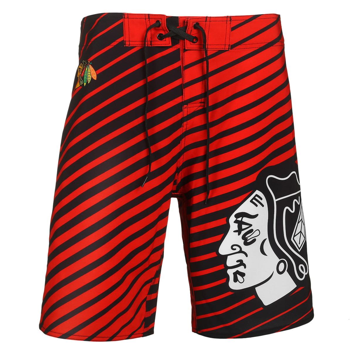 """Chicago Blackhawks NHL """"Stripes"""" Men's Boardshorts Swim Trunks"""