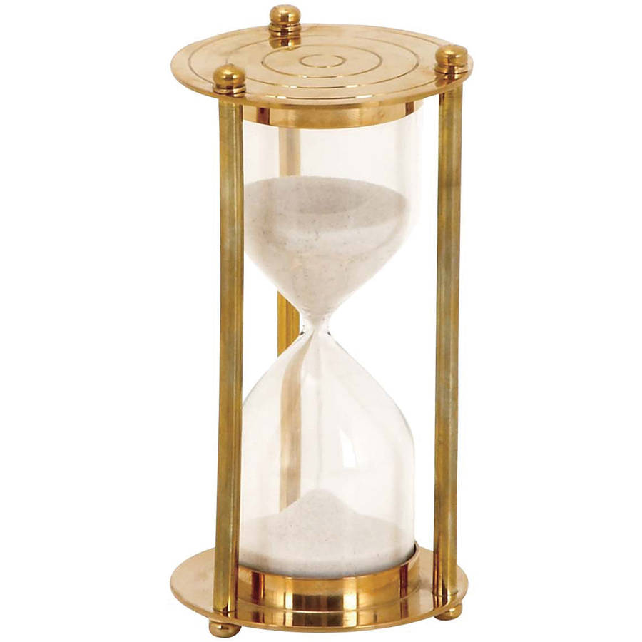 Decmode Brass Glass Sand Timer, Multi Color